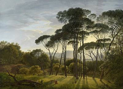 Vintage Painting - Italian Landscape With Umbrella Pines, 1807 by Hendrik Voogd