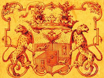 Digital Art - Italian Nobility 18th Century Coat Of Arms With Leopards And Double Headed Eagles by Peter Ogden