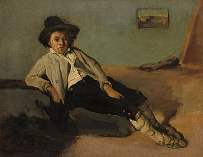 Antique Italian Oil Painting - Italian Peasant Boy by Mountain Dreams