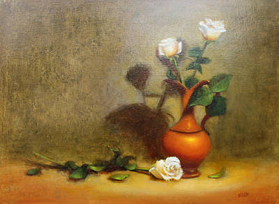 Pitcher Painting - Italian Pitcher With Roses by Christy Olsen