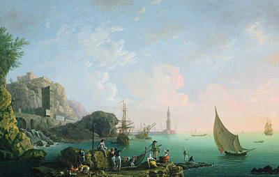 Italian Harbor Painting - Italian Port Scene  by Thomas Patch