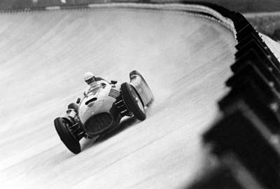 Italian School Photograph - Italian Racing Driver Nino Farina Driving His Ferrari At Monza  by Italian School