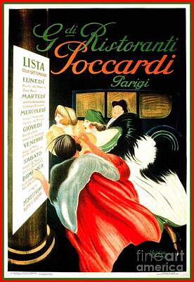 Italian Restaurant Paris Leonetto Cappiello Art Print by Heidi De Leeuw