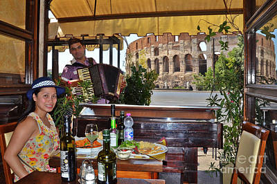 Photograph - Italian Restaurant With Colosseum by Jack Moskovita