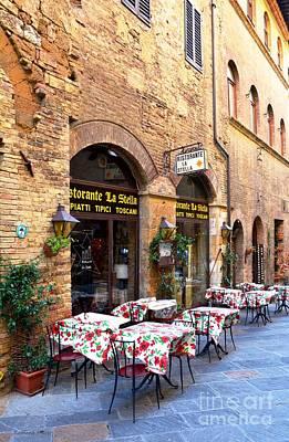 Photograph - Italian Ristorante In San Gimignano by Ramona Matei