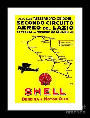 Painting - Italian Shell Oil Aviation Poster Giuseppe Magognoli 1928 II by Peter Gumaer Ogden Collection