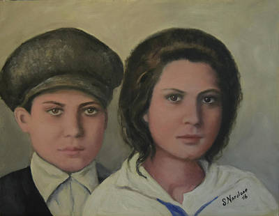 Ellis Island Painting - Italian Siblings On Ellis Island by Sandra Nardone