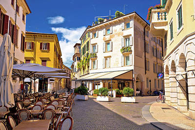 Photograph - Italian Street And Cafe In Verona View by Brch Photography