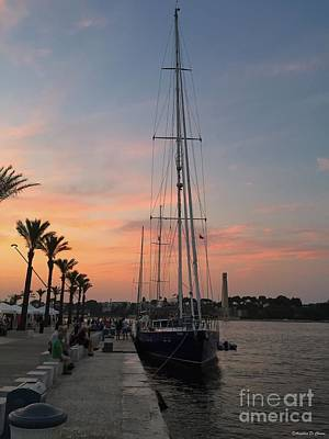 Photograph - Italian Sunset And Sailboat by Italian Art