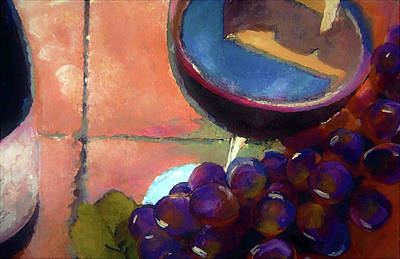 Wine Painting - Italian Tile And Fine Wine by Lisa Kaiser