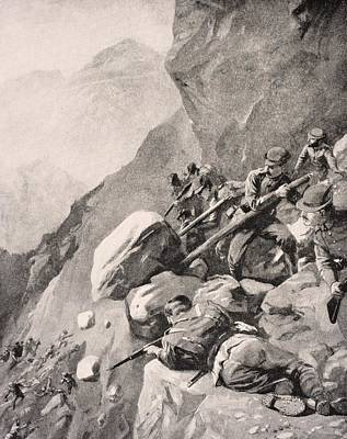 Rolling Stone Drawing - Italian Troops Levering Boulders Down by Vintage Design Pics