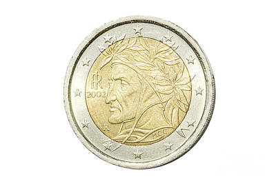 Photograph - Italian Two Euro Coin by Benny Marty