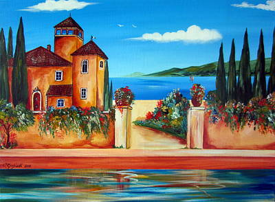 Painting - Italian Villa By The Water by Roberto Gagliardi