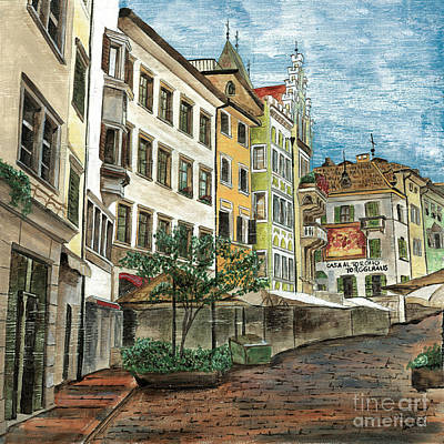 Town Painting - Italian Village 1 by Debbie DeWitt