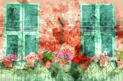 Italian Window With Open Wooden Shutters, Decorated With Fresh F Art Print by Brandon Bourdages