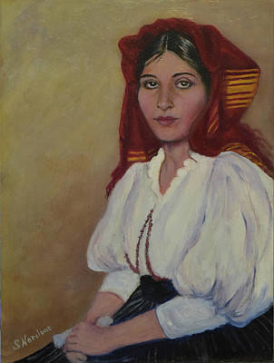 Painting - Italian Woman In Red Headdress by Sandra Nardone