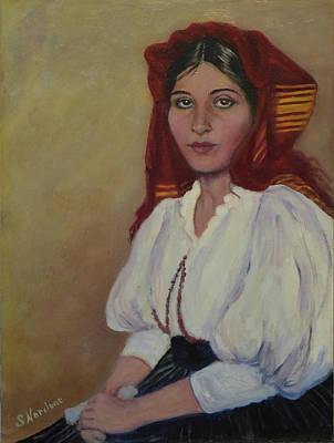 Painting - Italian Woman In Red Headdress by Sandra Nardone