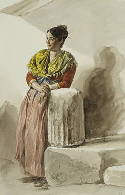 Drawing - Italian Woman In Yellow Shawl by Karl Bryullov