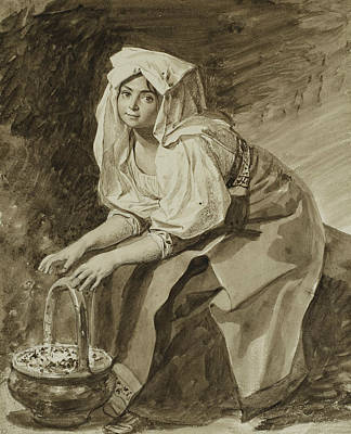 Drawing - Italian Woman Warming Her Hands by Treasury Classics Art