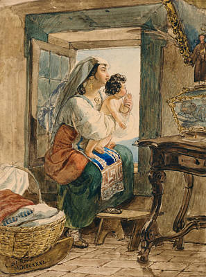 Drawing - Italian Woman With Child At Window by Treasury Classics Art