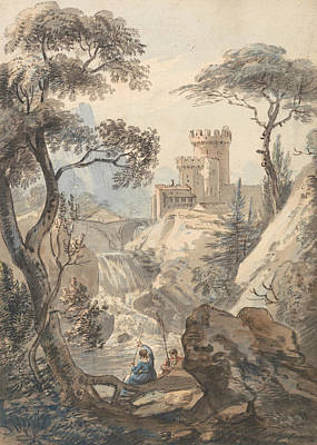 Landscape With Rocks Painting - Italianate Landscape With Castle, Cascade And Anglers by Paul Sandby