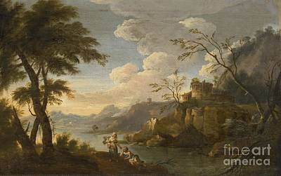 Italianate Landscape With Peasants Resting In The Foreground Art Print