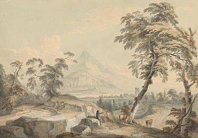 Italianate Landscape With Travelers, No. 1 Art Print