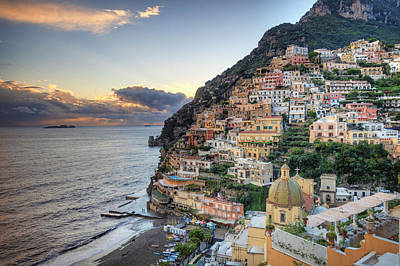 Mountain Sunset Photograph - Italy, Amalfi Coast, Positano by Michele Falzone