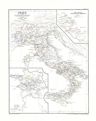 Photograph - Italy Ecclesiastical Map by Rospotte Photography