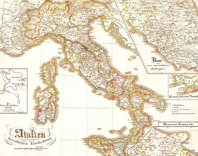 Italy Europe Vintage Country Map Art Print by ELITE IMAGE photography By Chad McDermott