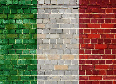 Digital Art - Italy Flag On A Brick Wall by Steve Ball
