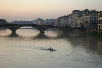 Rowing Photograph - Italy, Florence, Arno River And Rowers by Keenpress