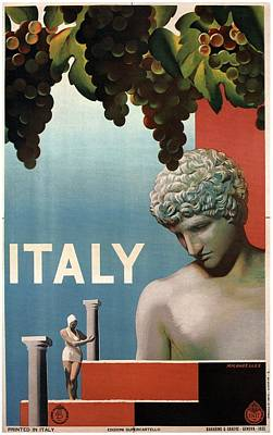 Italy - Grapes And Statue - Retro Travel Poster - Vintage Poster Art Print