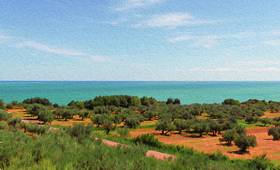 Painting - Italy, Landscape From The Trabocchi Coast - 03 by Andrea Mazzocchetti