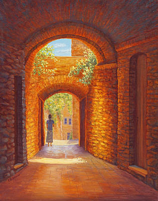 Grapevines Painting - Italy Passages, San Gimignano, Tuscany by Elaine Farmer