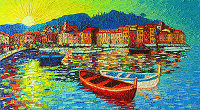 Golfo Paradiso Painting - Italy Portofino Harbor Sunrise Modern Impressionist Palette Knife Oil Painting By Ana Maria Edulescu by Ana Maria Edulescu