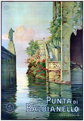 Photograph - Italy Punta Di Balbianello Restored Vintage Poster by Carsten Reisinger