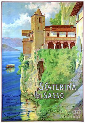 Mixed Media - Italy Santa Caterina Del Sasso Vintage Poster by Carsten Reisinger