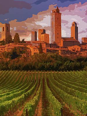 Painting - Italy, Sunset On San Gimignano by Andrea Mazzocchetti