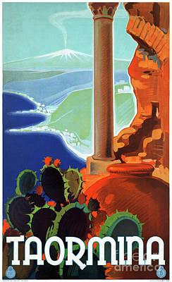 Mixed Media - Italy Taormina Sicily Vintage Poster by Carsten Reisinger