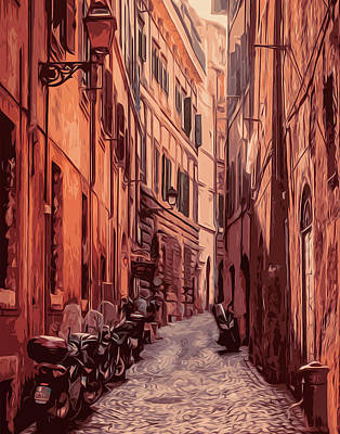 Painting - Italy, The Old Streets Of Rome by Andrea Mazzocchetti