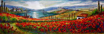 Italy Tuscan Poppies Art Print by Yvonne Ayoub