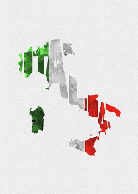 Steampunk Digital Art - Italy Typographic Map Flag by Inspirowl Design
