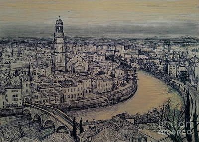 Drawing - Italy Verona by Maja Sokolowska