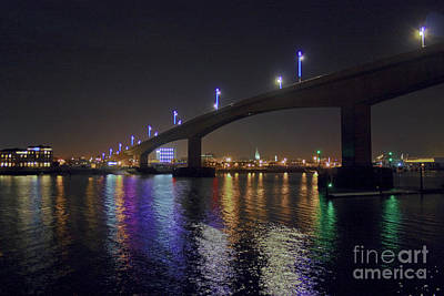 Photograph - Itchen Bridge Reflections At Night by Terri Waters