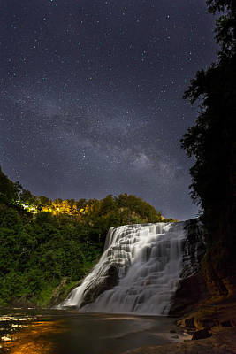 Ithaca Falls By Moonlight Art Print by Michele Steffey