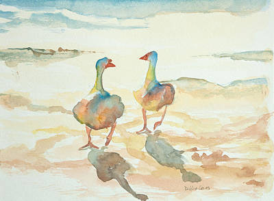 Ducks In Watercolor Painting - It's A Ducky Day by Debbie Lewis