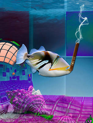 Mixed Media - It's A Girl Celebration Saltwater Triggerfish by Marvin Blaine