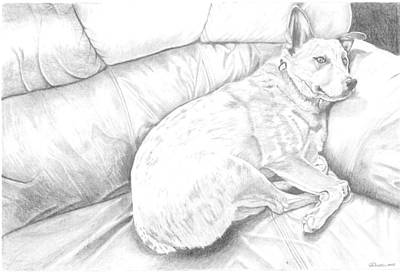 Lazy Dog Drawing - It's A Hard Life by Russell Britton