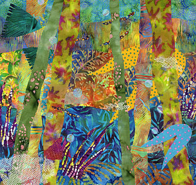 Fabric Mixed Media - Its A Jungle Down There by Julia Berkley